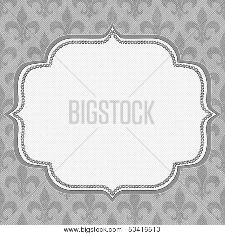 Gray Fleur De Lis Textured Fabric Background