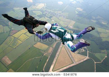Two Skydivers In Freefall