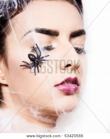 Beautiful Woman Wrapped In Spider Web
