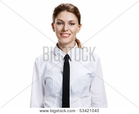 Woman in a white shirt and tie