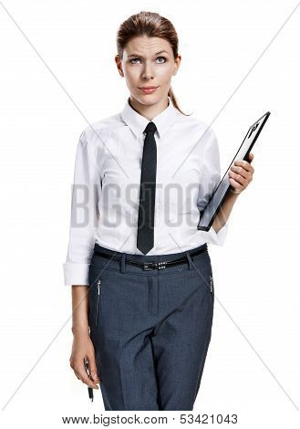 Brunette holding clipboard and pen