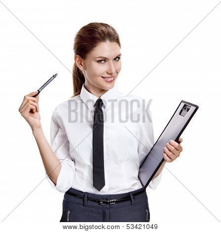 Playful businesslike girl