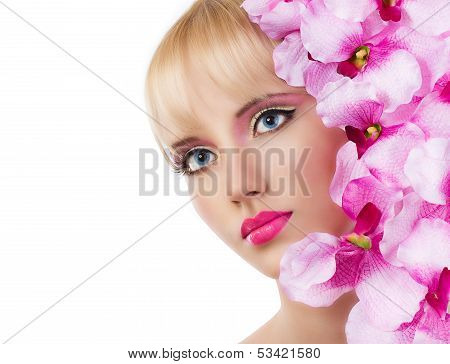 Beautiful Girl With Flowers And Pink Makeup