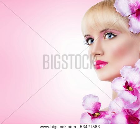 Girl With Flowers And Perfect Makeup