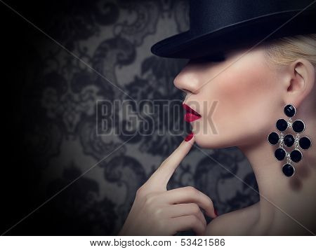 Beautiful Blonde Woman With Red Lips And Manicure