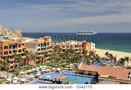 Cruise Ship And Resort In Cabo San Lucas, Mexico