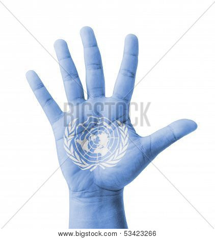 Open Hand Raised, Multi Purpose Concept, Un (United Nations) Flag Painted