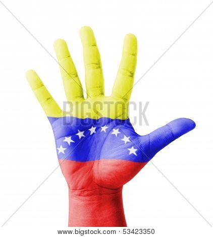 Open Hand Raised, Multi Purpose Concept, Venezuela Flag Painted - Isolated On White Background