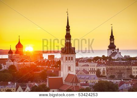 Sunset in Tallinn, Estonia at the old city.