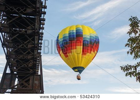 Hot Air Balloon In Flight At Letchworth State Park