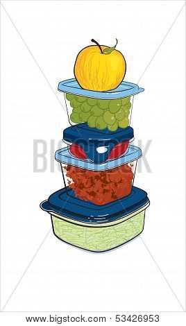 plastic containers with food, vector illustration