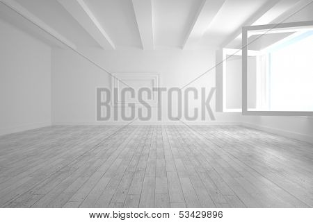 White big room with opened windows and floorboards
