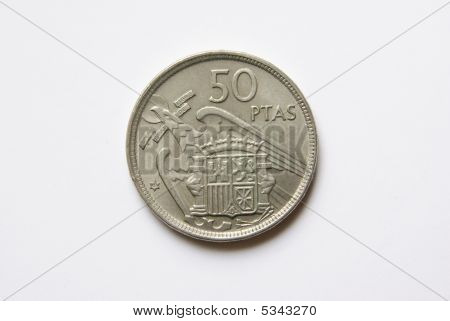 Spanish 50 Pesetas Coin (reverse)
