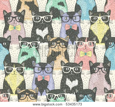Seamless Pattern With Hipster Cute Cats For Children