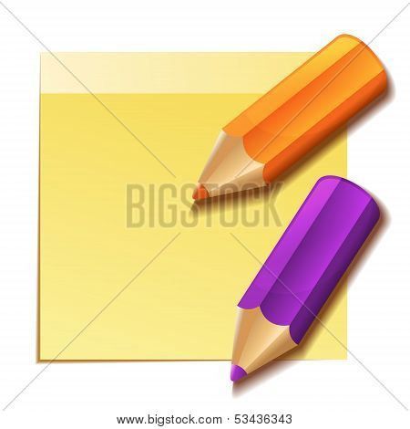 Realistic yellow stick note and two color pencils