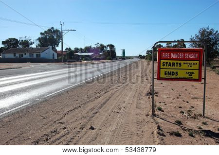 Road Fire Safety Sign On Highway In Outback