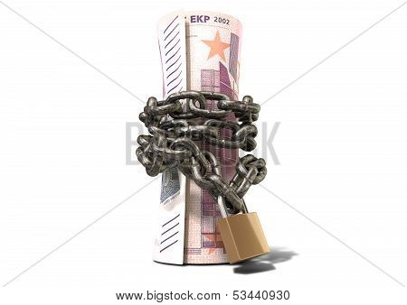 Rolled Up And Shackled Euro Notes Standing