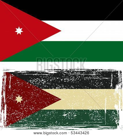 Jordanian grunge flag. Vector illustration.