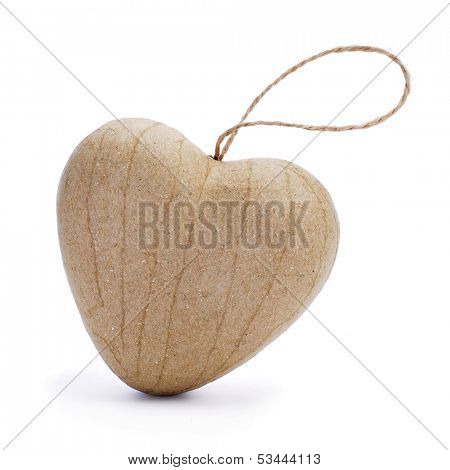 a paperboard heart-shaped ornament on a white background