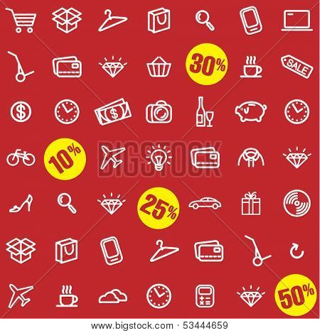 Big sale. Shopping vector seamless pattern.