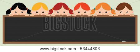 Back to school.Kids holding a blackboard. Vector illustration.