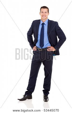good looking business executive standing on white background