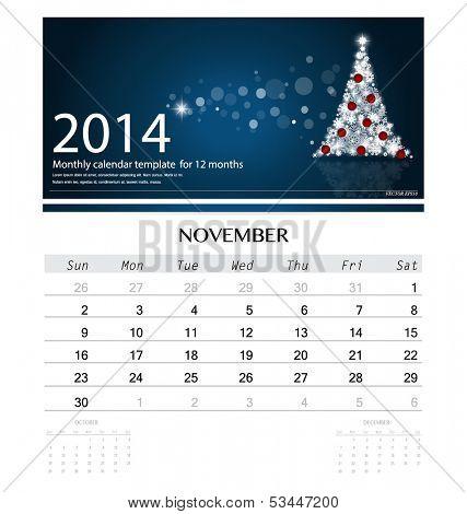 2014 calendar, monthly calendar template for November (Christmas tree design). Vector illustration.