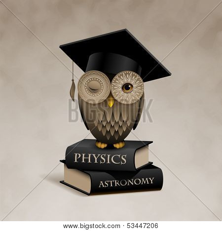 Owl sitting on books, eps10 vector
