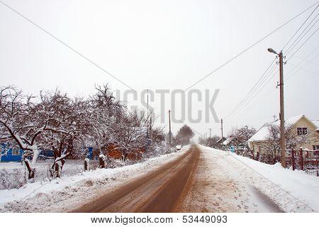 Rural roads in the village in winter