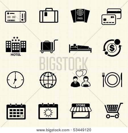 Travel icons with texture background.