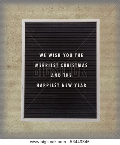 Christmas Message In Plastic Letters On Very Old Menu Board