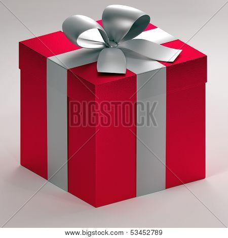3d ortographic illustration of a red gift boxes with silver ribbon and bow