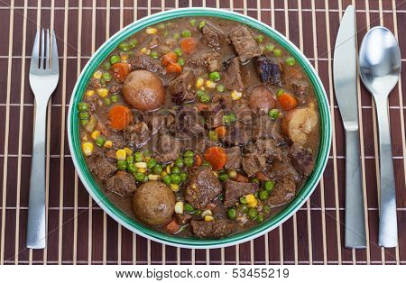 Hearty and traditional Irish stew in a bowl ready to eat.