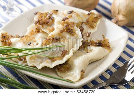 Traditional dumplings, pierogi