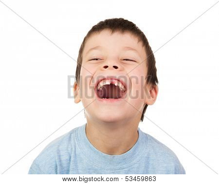 boy with a lost tooth laugh