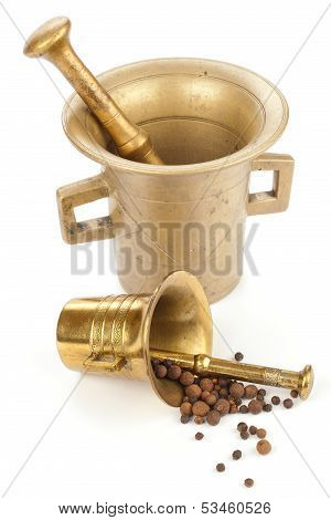 Two mortars with spices