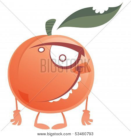 Crazy Cartoon Pink Peach Fruit Character Standing