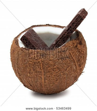 Chocolate In Coconut Isolated On White