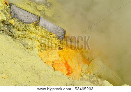 Sulphur Mining. Kawah Ijen Crater