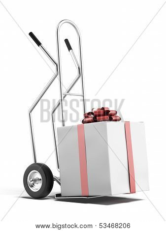 hand truck with gift box