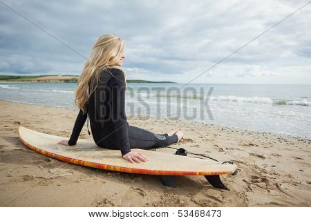 Rear view of a smiling beautiful blond in wet suit with surfboard at the beach