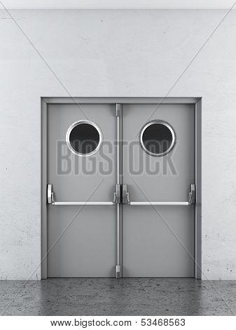 White swing doors