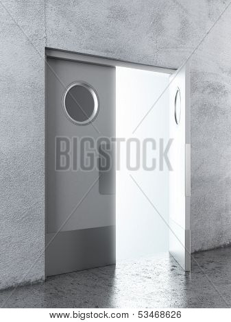 Opened White swing door