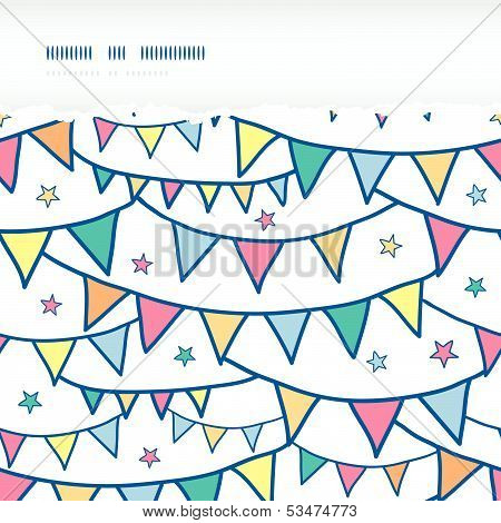 Colorful doodle bunting flags horizontal torn seamless pattern background