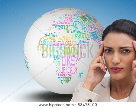 Composite image of young businesswoman putting her fingers on her temples on white background