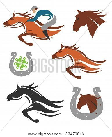 Horse racing icons symbols