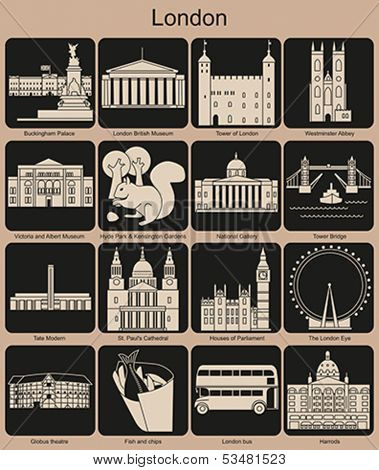 Landmarks of London. Set of monochrome icons. Editable vector illustration.