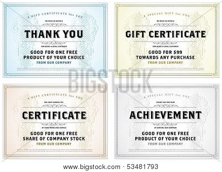 Vector set of retro gift certificates. Great for certificates, diplomas, and awards. Easy to edit.
