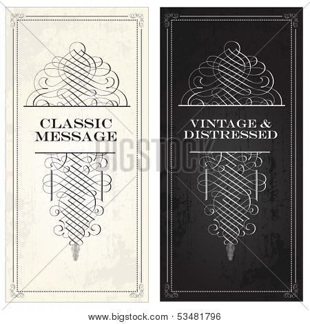 Vector vintage and victorian ornaments on matching frames. Distressed backgrounds are easy to edit. Great for invitations and announcements.