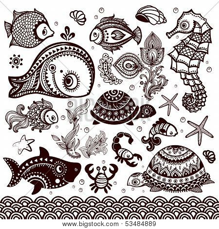 Vector set of fish  and flowers with ornaments